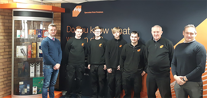 Martin Dalziel (BPIF Training), Matthew Crawford, Anthony Pallett, Jordan Rhodes, John Foxon  (Apprentices 2016), Leslie Gibson (MD), Steve Power (BPIF Training)