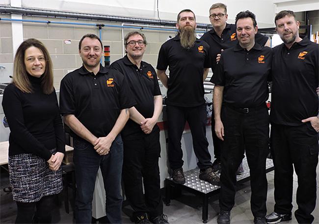 Martin Dalziel (BPIF Training), Matthew Crawford, Anthony Pallett, Jordan Rhodes, John Foxon  (Apprentices 2016), Leslie Gibson (MD), Steve Power (BPIF Training)